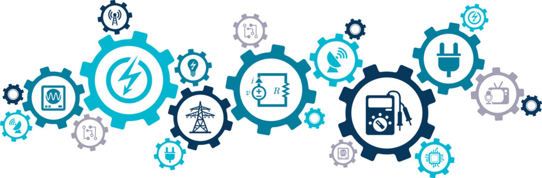 Electrical engineering vector. Concept related to electric equipment, electricity, stem subjects in university, studying to become an electrician, electronic components, education, maintenance.