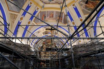 Restoration of Saint Nicolas de Veroce  baroque church.  Scaffold. France.  22.03.2018