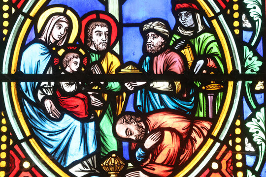 Saint-Pere church.  Stained glass window.  Holy Family. The Nativity. Adoration of the Magi.  France.  22.03.2018