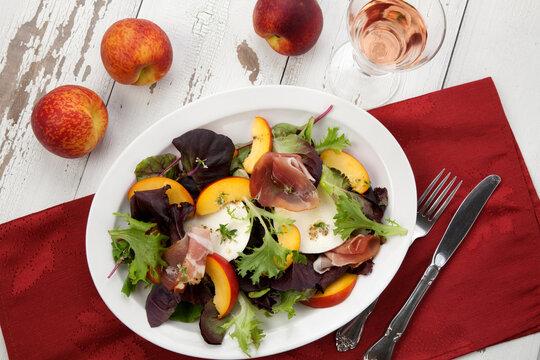 Prosciutto Peach Salad With Fresh Mozzarella
