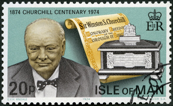 MANN - 1974: shows Sir Winston Spencer Churchill (1874-1965), Freedom of Douglas Scroll and casket, 1974
