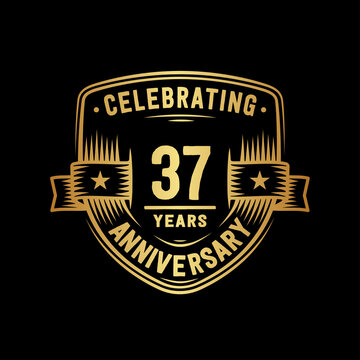 37 years anniversary celebration shield design template. Vector and illustration.