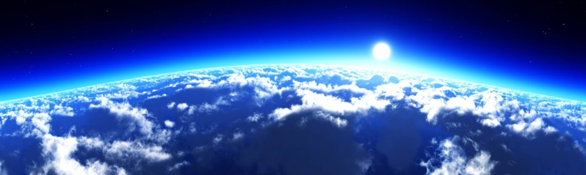 Clouds from low orbit, earth from orbit at sunrise, panorama of clouds at sunset, 3d rendering
