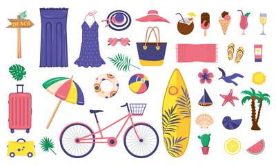 Fototapeta A large bright set of summer items