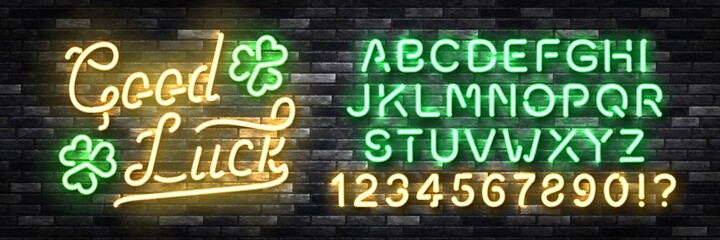 Fototapeta Vector realistic isolated neon sign of Good Luck typography logo with easy to change color font alphabet on the wall background.