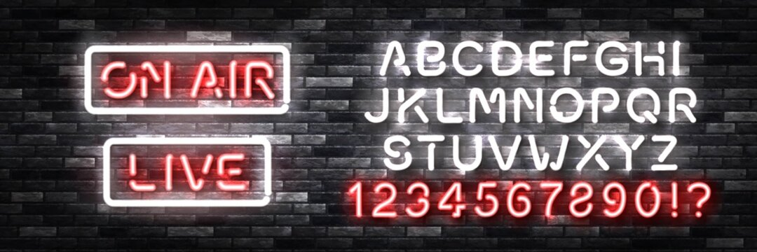 Vector realistic isolated neon sign of On Air with easy to change color font alphabet on the wall background. Concept of podcast and live streaming.