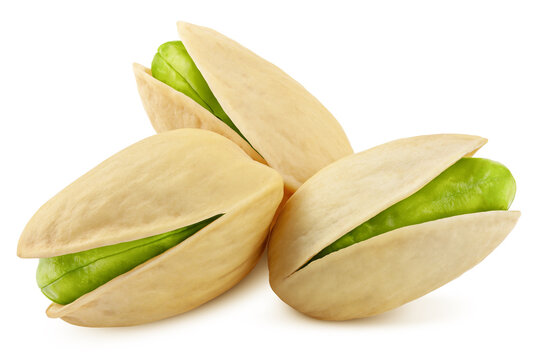 pistachio isolated on white background, clipping path, full depth of field