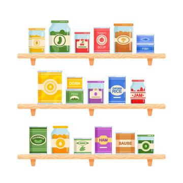 Set Icons Canned Food Theme. Various Tin Cans and Glass Jars Stand on Shelves. Marinated and Pickled Vegetable or Fruits