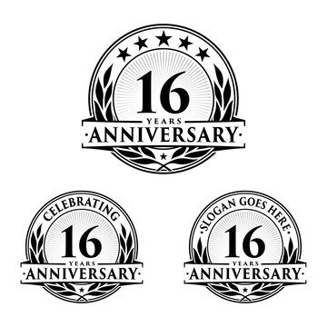 16 years anniversary collection logotype. Vector and illustration.