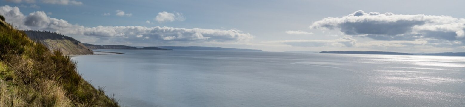Panorama Of The Puget Sound From Fort Ebey on Whidbey Island Washington State