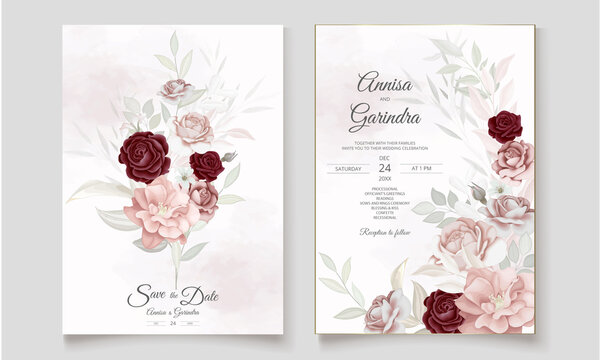 Elegant wedding invitation card with beautiful  maroon  floral and leaves template Premium Vector