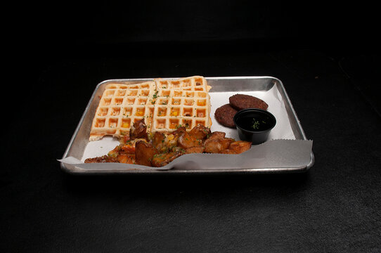 Waffles Sausage and Home Fries