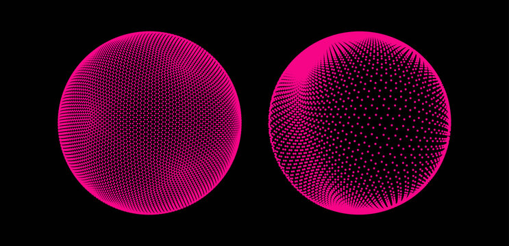 The sphere consisting of points. Global digital connections. Technology concept. Array with dynamic particles. 3D grid design. Vector illustration for science and technology.