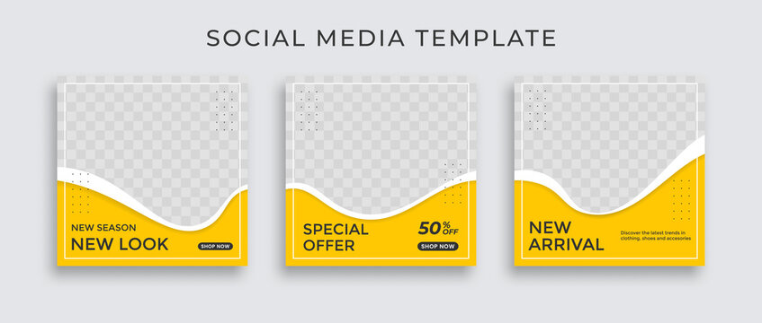 Set of Editable minimal square banner template. Black and yellow background color with stripe line shape. Suitable for social media post and web internet ads.