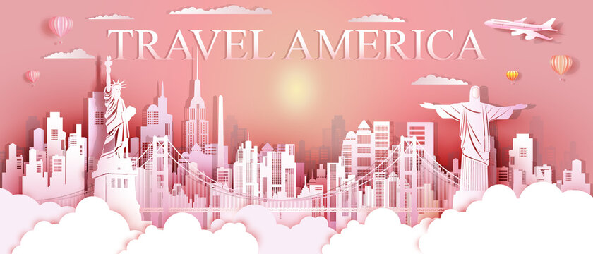 Tour landmarks United States and south America famous monument architecture.