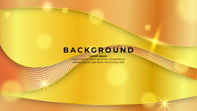 Luxury Paper cut background with glitter effect and shiny color gold. Geometric shapes background. vector illustration