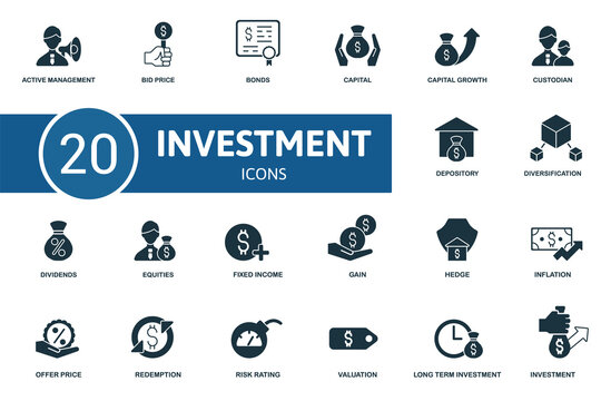 Investment icon set. Contains editable icons investment theme such as bid price, capital, custodian and more.