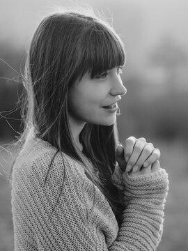Beautiful and happy teenager girl outdoor