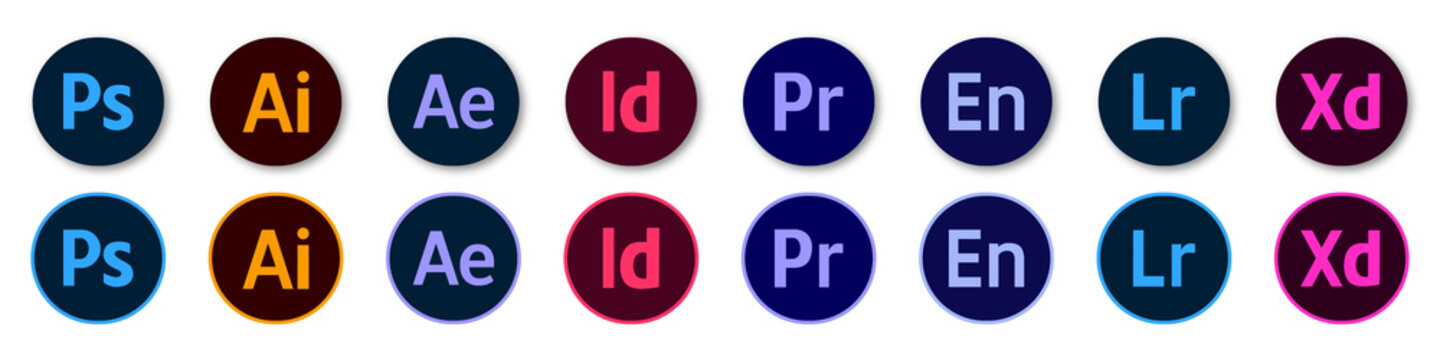 Adobe Products Icon Set: Illustrator, Photoshop, InDesign, Premiere Pro, After Effects, Acrobat DC, Lightroom, Dreamweaver ... Vector round icons for your website design. Stock illustration EPS 10