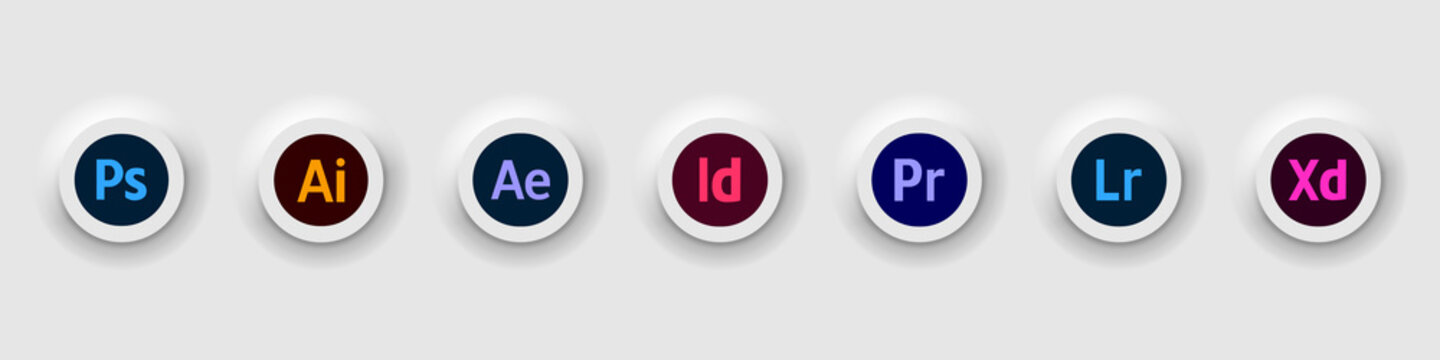 Set of Adobe Products icons: Illustrator, Photoshop, InDesign, Premiere Pro, After Effects, Lightroom. Vector icons with shadow on an isolated background for your website design. Stock illustration