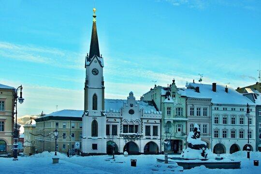 Czech Republic-square in city Trutnov in winter