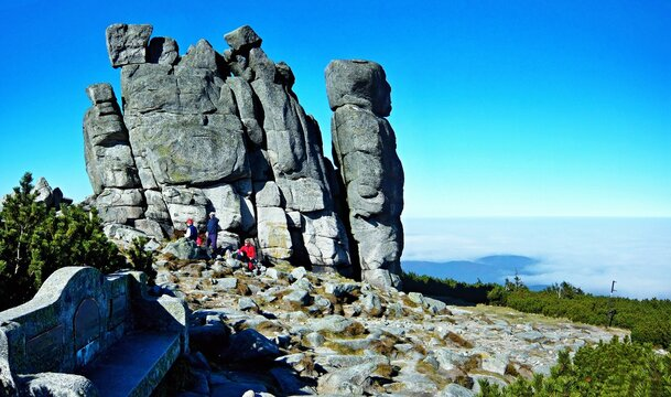 Poland-view on the Sunflower rock and tourists in Giant Mountains