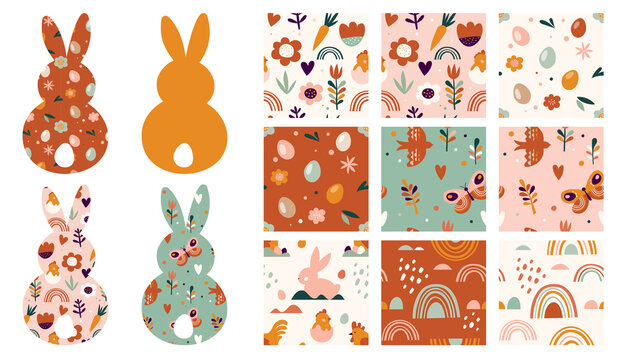 Boho Easter concept design, seamless patterns and bunnies, eggs, flowers and rainbows in pastel and terracotta colors