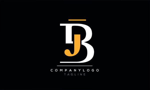 Abstract Letter Initial JB BJ Vector Logo Design Template