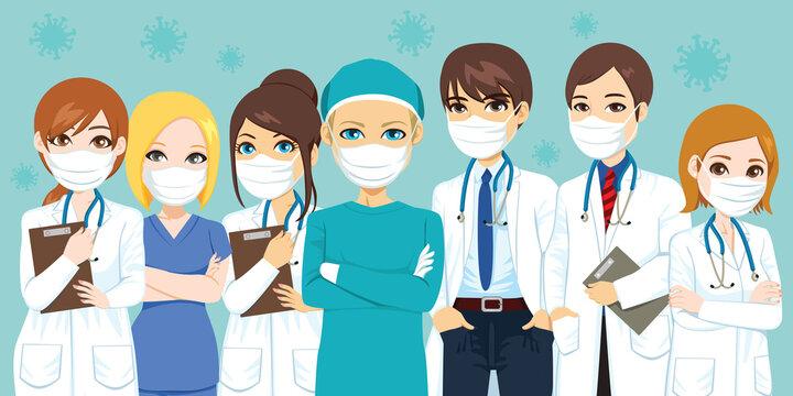 Hospital medical team wearing masks with airborne virus on background