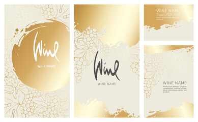 Fototapeta Collection labels for wine. Vector illustration, set of backgrounds with gold patterns and gold strokes. obraz