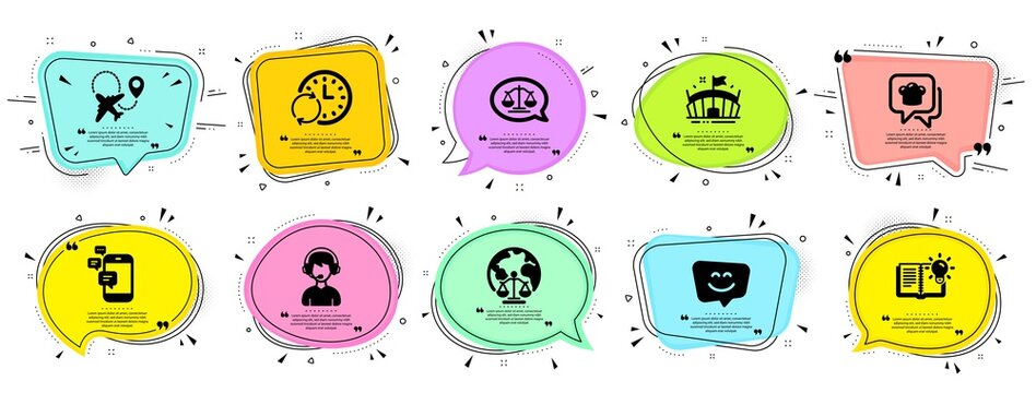 Business icons set. Speech bubble offer banners. Vector coupon badge. Included icon as Update time, Communication, Smile face signs. Magistrates court, Justice scales, Arena symbols. Vector