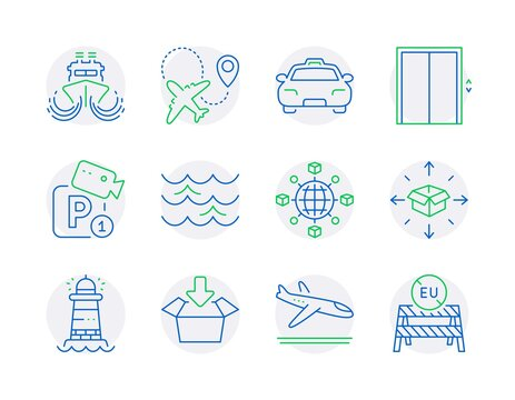 Transportation icons set. Included icon as Lift, Taxi, Airplane signs. Ship, Get box, Waves symbols. Logistics network, Parcel delivery, Arrivals plane. Parking security, Lighthouse. Vector