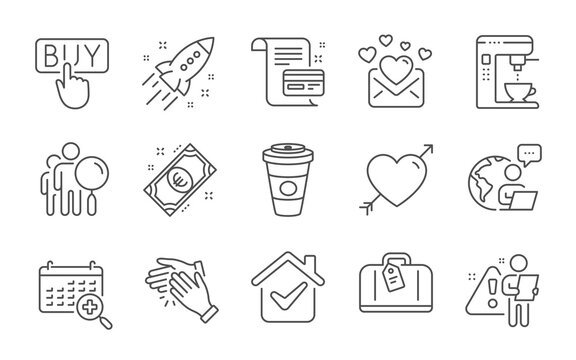Love mail, Hand baggage and Takeaway coffee line icons set. Love, Startup rocket and Euro money signs. Clapping hands, Coffee maker and Search people symbols. Line icons set. Vector