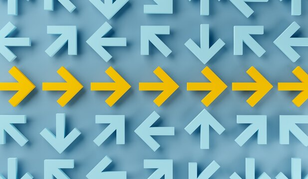 Many arrows pointing in different directions with arrows in the middle forming straight path over blue background, solution, career, plan or success concept
