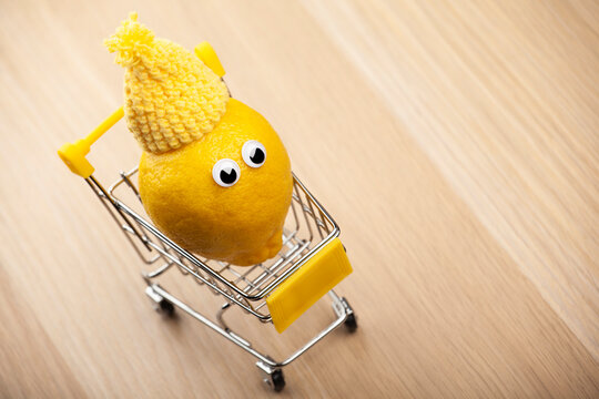 image of lemon trolley wooden desk background