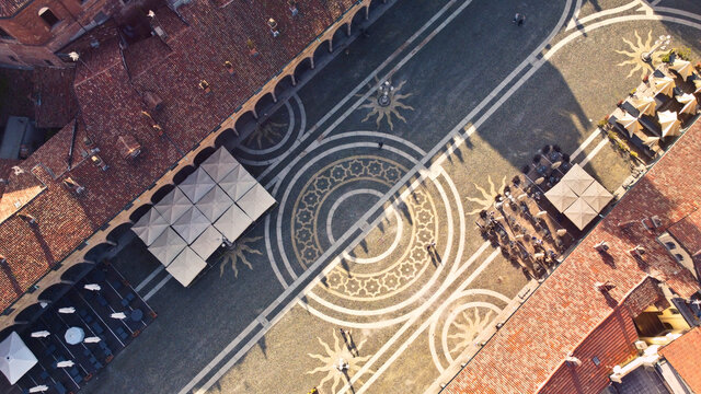 piazza ducale, vigevano, italy from drone
