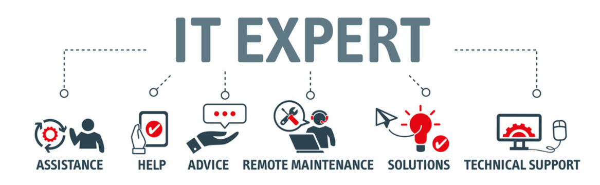 Banner of  IT Expert, Information Technology Advice, Services or technical support - vector illustration concept with icon