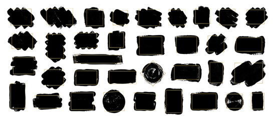 Wall Mural - Set of brush strokes with gold frames. Modern brush, frames, banner. Grunge brush stroke element. Vector black paint illustration for your text.