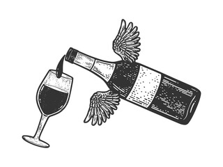 Flying bottle pours wine into glass sketch engraving vector illustration. T-shirt apparel print design. Scratch board imitation. Black and white hand drawn image.