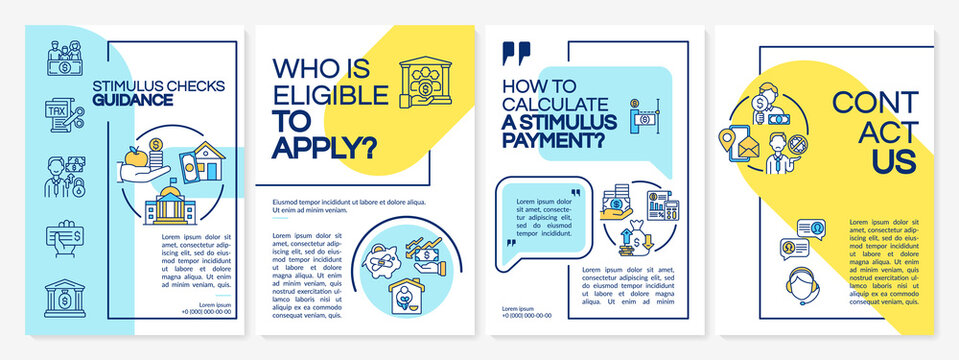 Stimulus checks guidance brochure template. Calculate stimulus payment. Flyer, booklet, leaflet print, cover design with linear icons. Vector layouts for magazines, annual reports, advertising posters
