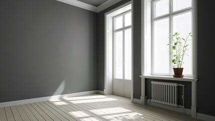 Altbauwohnung mit grauen Wänden und Balkontür