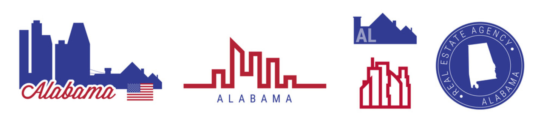 Alabama real estate agency. US realty vector emblem icon set