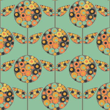 Abstract Allium floral vector seamless pattern background. Mid century modern flowers and leaves filled with circle shapes in brown teal orange. Stylized garland effect repeat for summer concept