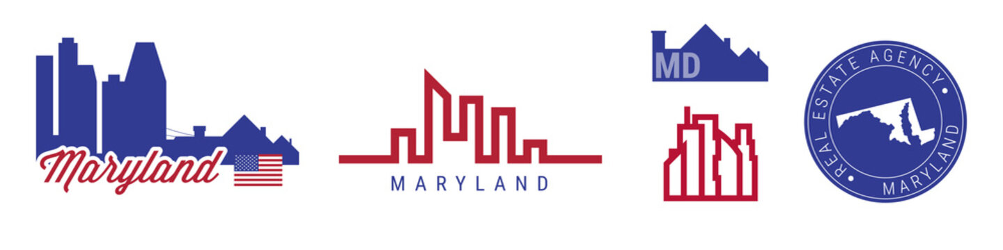 Maryland real estate agency. US realty vector emblem icon set