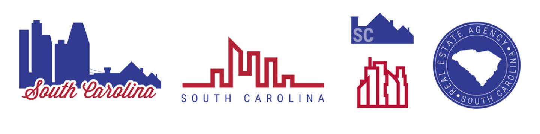 South Carolina real estate agency. US realty vector emblem icon set