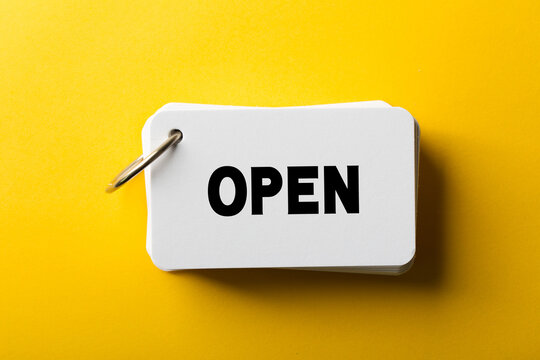 Open Concept Isolated On Yellow Background
