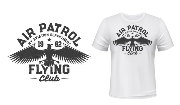 Eagle flying club t-shirt print mockup, air patrol and aviation department vector badge. Gothic eagle and star symbol of aviators club and airplane pilots academy for t shirt print