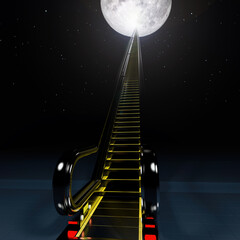 Escalator to the moon. Space tourism. Elements of this image furnished by NASA.