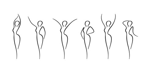 Fototapeta Woman body outline icons set. Various female line silhouettes, model, figure. Abstract image of girl sign for wellness center, sport, dance, beauty salon and spa. Vector isolated illustration obraz