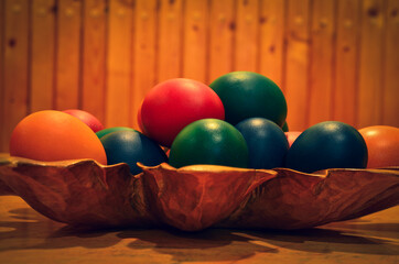 easter eggs on wooden tray